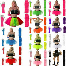 NEW NEON TUTU SKIRT FANCY DRESS SET 3PC LEGWARMERS FISHNET GLOVES 80'S HEN PARTY