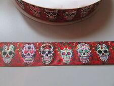 Sugar Skull Grosgrain Ribbon 2.5cm  x 1 Metre  Sewing/Costume/Crafts/Cake