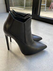 Saint Laurent PARIS 110 Ankle Boots Pointed Black Stiletto EU 38.5