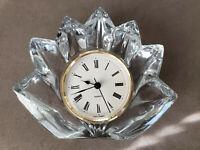 Vintage Mikasa Fleurisse Crystal Quartz Glass Clock Germany Collectible Rare