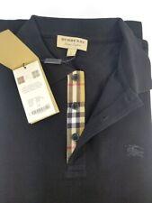 New Burberry London Mens Black Short Sleeve Check Polo Shirt S,M,L,XL,XXL