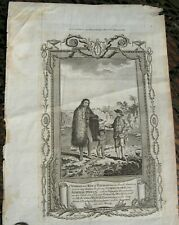 Early Engraving A Woman & Boy Of Patagonia With Commodore Byron, Circa 1700 Rare