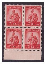 DEMOCRATICA 1946  -  LIRE 10 ARANCIO  QUARTINA  NUOVA **