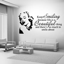Marilyn Monroe Keep Smiling Wall Art Sticker Mural Decal quote DIY