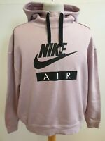 WOMENS NIKE AIR DARK PINK BLACK CROPPED LONG SLEEVE HOODIE TRACKIE UK M 10 EU 38