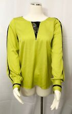 Catherine Malandrino Blouse Chartreuse Green Black Lace Long Sleeve Top size 2