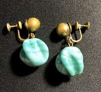 Nice Vintage Estate Gold Tone Green / Blue Bead/Stone Screw Back Drop Earrings