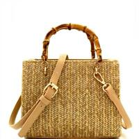 Woven Straw Bamboo Handle Boxy Shoulder Bag