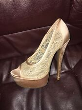 BEBE SHOES MADELYN GOLD LACE STUDS BLING SHOES SIZE 5 Heels