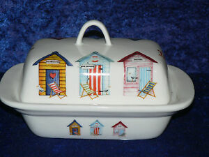 Beach Huts colourful porcelain traditional deep white butter dish