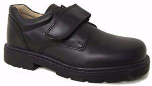 Petasil Ollie Boys Black Leather School Shoes