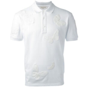 Valentino Butterfly Applique Polo Shirt White Mens (S) - New/Tags RRP: $1500