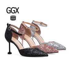 Stiletto Zapatos de Salón Elegantes Novia Mujer Talón 8 CM Rojo Plata Negro 9727
