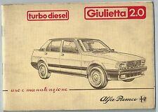 ALFA ROMEO GIULIETTA 2.0 TURBO DIESEL manuale uso manutenzione originale