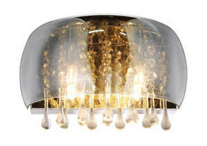 Modern Wall Crystal Droplets Chandelier Light Fitting Smoked Glass Finish