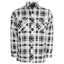 Mens Flannel Brushed Cotton Work Shirt Lumberjack Check Long Sleeve M to 6xl White Black XL