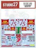 STUDIO27 1/12 HONDA RC212V Gresini #7/58 MotoGP 2010 for TAMIYA DC906 Decal