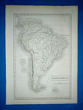 Antique 1847 Atlas Map ~ SOUTH AMERICA ~ Engraved by S. HALL Old Authentic