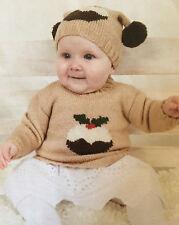 **CHRISTMAS** Knitting Pattern - Babies Sweater & Hat Set - My Little Pudding