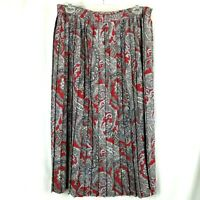 Alfred Dunner skirt womens pleated size 16 elastic waist grey red paisley