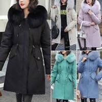 Ladies Womens Girls Winter Warm Jacket Hooded Fleece Trench Parka Coat Plus Size