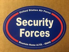 US AIR FORCE SECURITY FORCES MOUNTAIN HOME IDAHO Sticker - 4 3/4 Inch OVAL