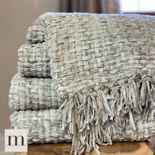 Luxury Woollen Touch Beige Taupe Linen Woven Knit Large Sofa Bed Blanket Throw