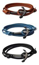 Lot 3 bracelets multi-tours ancre marine Marron, Bleu Clair et Noir, Ajustable.