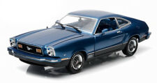 1976 Ford Mustang II Mach 1 Blue w/ Black Greenlight 12868 1/18 Scale Diecast