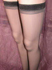 * BNIW SHEER GLOSS HOLD UP STOCKINGS 'NEAR BLACK' WITH NARROW PATTERNED TOPS *