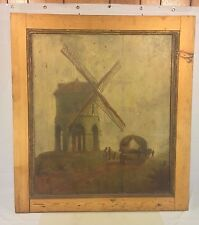 Antique Oil Painting on Wood Panels Windmill & Wagon 1700s to 1800s