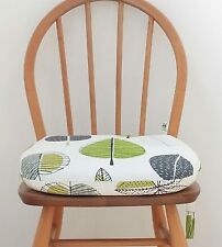 Maple leaf chair pad. Tie on Seat pad. Foam seat cushion. Green chunky cushion.