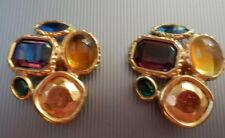 YSL * BOUCLES D'OREILLE CLIPS PIERRES  * YVES SAINT LAURENT * BIJOU Hte COUTURE