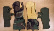 Excel Trigger Finger Camo Mittens WOOL Liner Insert Medium Leather Gloves USGI