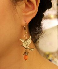 Boucles d`Oreilles Dormeuses Oiseau Goutte Orange Original Mariage Cadeau EE 3