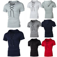 Mens Short Sleeve Slim Fit Hoodie T- Shirt Muscle Casual Lace Up Hooded Tops Tee