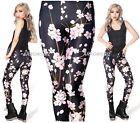 Women Girls Tie Dye Fashion Print Stretch Slim Fit Milk Silk Leggings Pants HQ
