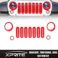 Red Grille Mesh Grill Insert Front Light Cover Trim 06-17 Jeep Wrangler JK 11PCS
