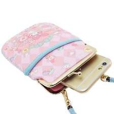 My Melody Phone Pouch Pass Case Card Pocket Purse Neck Strap Pink Sanrio Japan