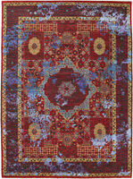 9X12 Hand-Knotted Oushak Carpet Traditional Red Fine Wool Area Rug D56043