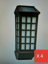 4pc Hampton Bay Mission-Style Bronze Outdoor Solar Deck Sconce Lights Sconce