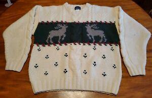 Vintage WOOLRICH Reindeer Pullover Wool Sweater, Ugly Christmas, Nordic MENS LG