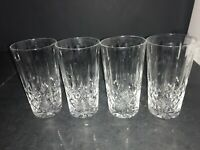 "4 CRYSTAL GLASS CROSS & OLIVE DRINKING GLASSES / TUMBLERS 5.25"" TALL"