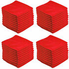50 X Red Car Cleaning Detailing Microfiber Soft Polish Cloths Towels Lint