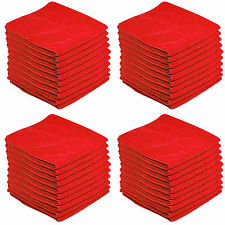 50 x RED CAR CLEANING DETAILING MICROFIBER SOFT POLISH CLOTHS TOWELS LINT FREE