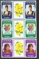 St Kitts SC # 93-95 Diana Princess Of Wales 21St Birthday. Pairs , 2. MNH