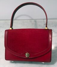 Gucci Rare and Vintage Red Leather Handbag Flap Closure – 1960s