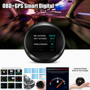 OBD2+GPS HUD Gauge Head Up Car Digital Display Speedometer Turbo RPM Meter Temp