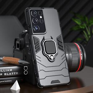 For Samsung S21 Ultra S20 FE S10 S9 Armor Ring Stand Shockproof Phone Case Cover