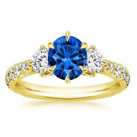 1.34 Ct Natural Blue Gemstone Sapphire Diamond Ring 14K Solid Yellow Gold Rings